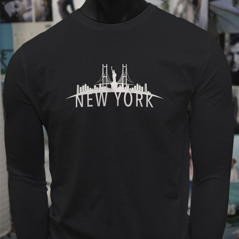 2ccdfb3837d New York Skyline Pride Liberty Statue Brooklyn Mens Black Long Sleeve T  Shirt T Shirt For Men Artist Short Sleeve Cotton Custom Big Size Fam Cotton  T Shirt ...
