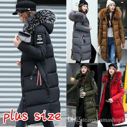 c23d19cd54364 2019 Women Long Warm Coat Faux Fur Hoodies Parkas Woman Wadded Down Jackets  Cotton Clothing From Amashop8