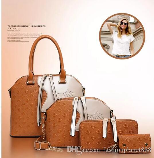 7f24c93f27c7 Дизайнерские женские сумки 4 шт. Набор модные сумки дамы сумки наборы кожа  плечо офис сумка дешевые женские оболочки продажа сумки