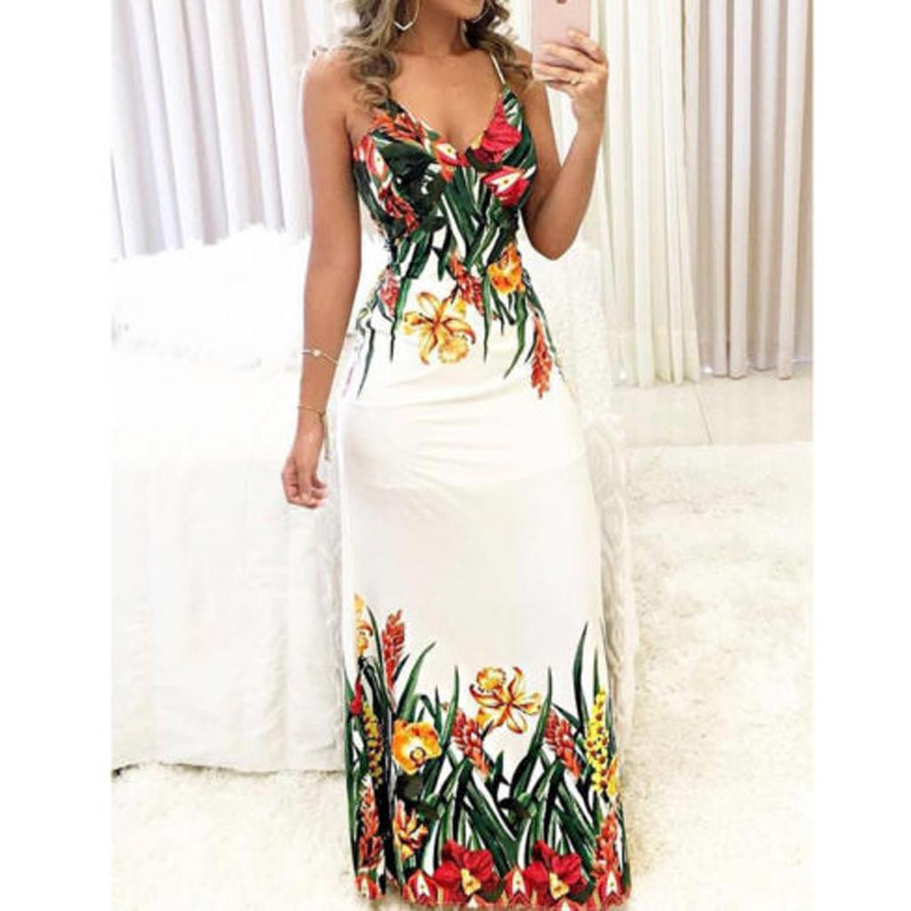 a4e9e047e3423 Women Dresses Summer 2019 Fashion Women'S Floral Long Maxi Dress ...