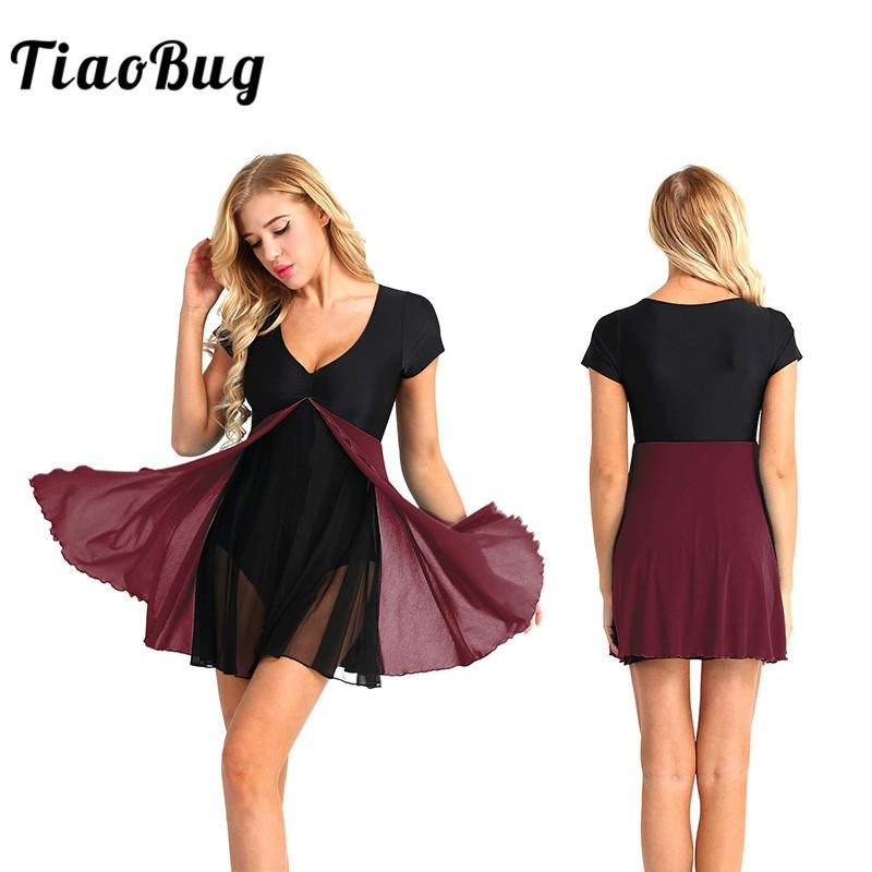 711875971f5c 2019 TiaoBug Women Mesh Splice Ballet Tutu Leotard Dress Stage ...