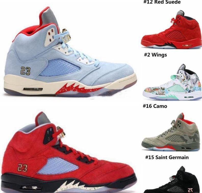 sale retailer 59c83 c7d10 148 Aair 1 JORDAN 5 5s men Basketball Shoes New Trophy Room x 5s Ice Blue  JSP Red Camo Seme Black Olympic Gold Blue Suede Designer Sneakers
