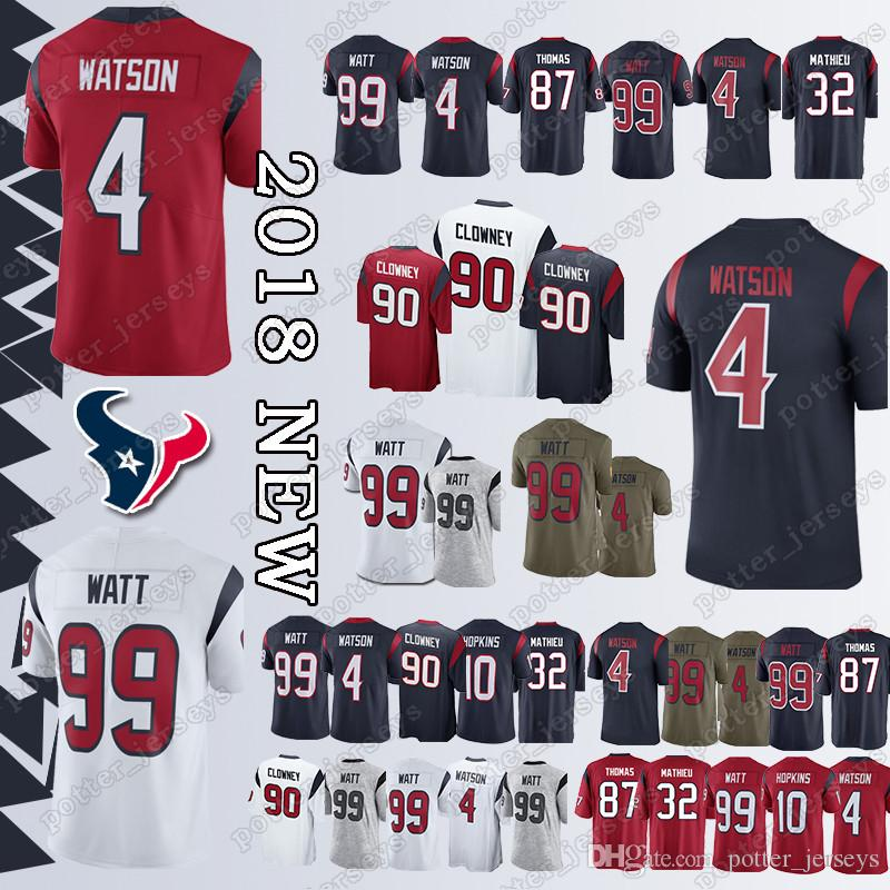 huge selection of 82785 728b0 Houston Texan Jersey 99 J.J. Watt 10 DeAndre Hopkins 87 Demaryius Thomas 90  Jadeveon Clowney 4 Deshaun Watson 32 Tyrann Mathieu Jerseys