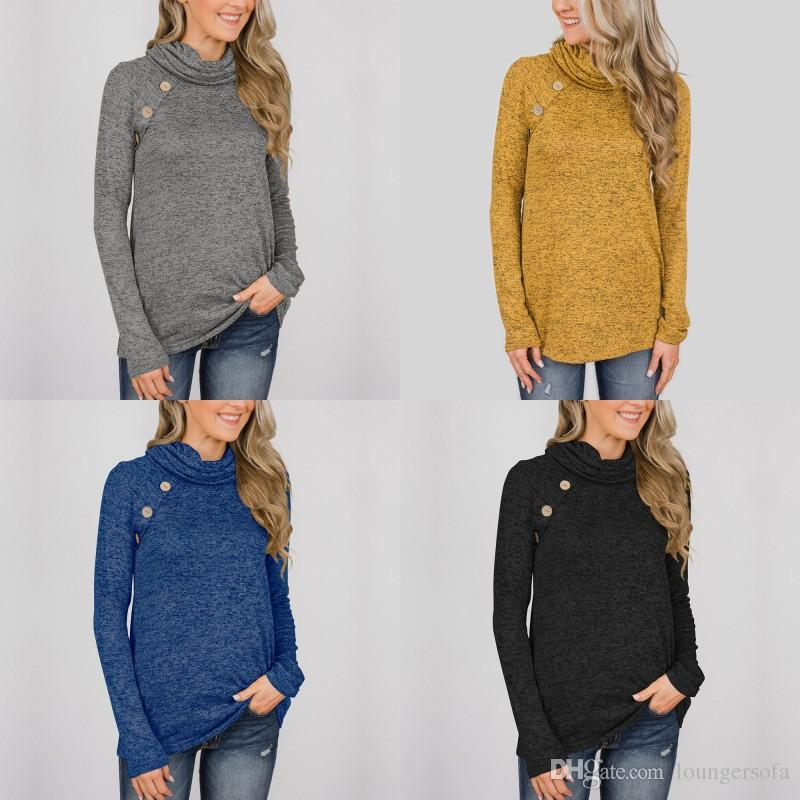 c2b46ecbbfc Solid Color Sweater Women Autumn Winter Fashion High Collar Round Pleated  Shirt Button Long Sleeve Clothing Hot Sale 28my hh
