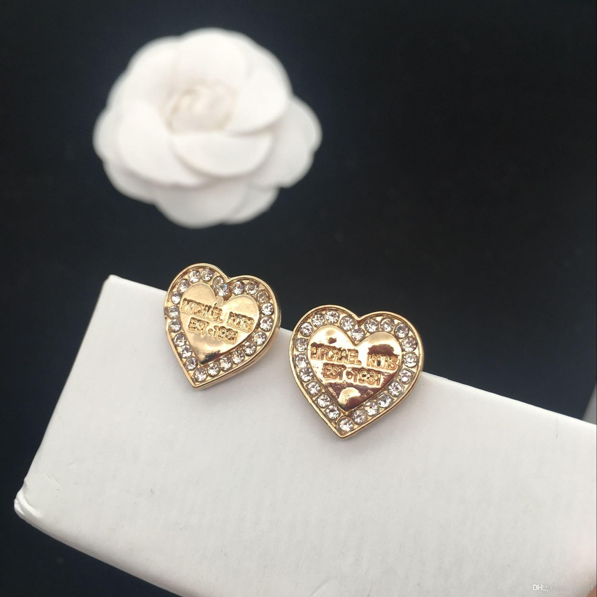 Wholesale Studded M Letter Small Stud Earrings Series Heart-Shaped Diamond  Earrings Selection For Woman Brand Stud