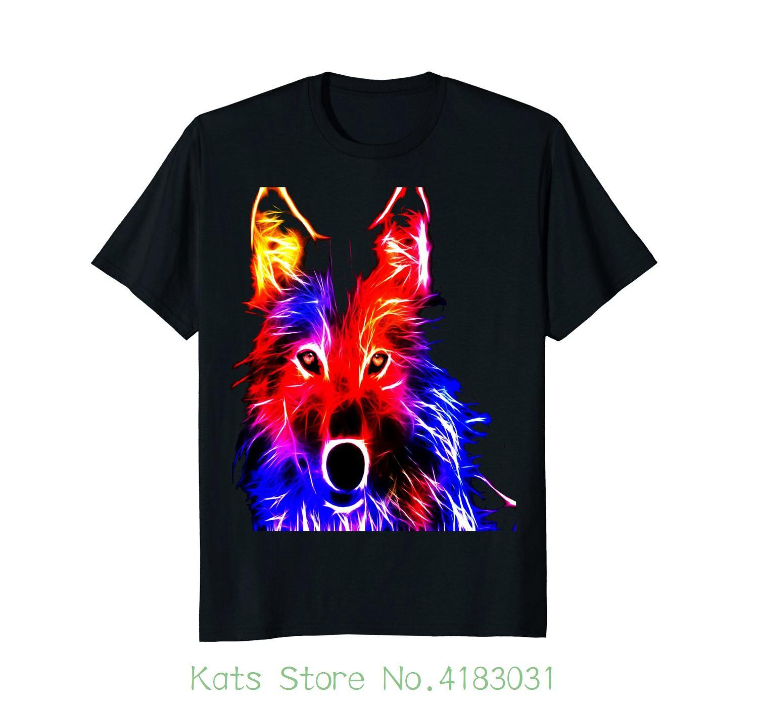 5cb19375ac9c Iridescent Color Wolf Wolves Vibrant Hd T Shirt Printed Summer Style Tees  Male Harajuku Top Fitness Brand Clothing Best Deal On T Shirts That T Shirt  From ...