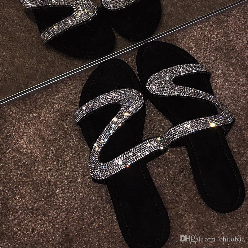 Summer Sandals for Women Diamond-encrusted Slippers Comfortable Flat bottom Slippers Fashion Outdoor new hot