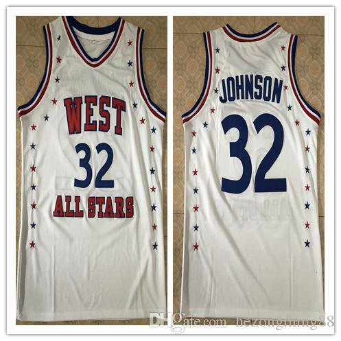 online store 5e62b 55925 #32 Magic Johnson 1983 All Star West White Men s Embroidery Stitched  Basketball Jersey Custom any name and number