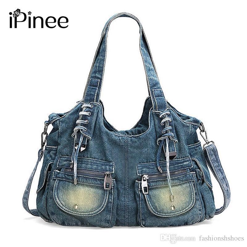 b2cf34f3c1986 Großhandel IPinee Mode Frauen Tasche Vintage Casual Denim Handtasche ...