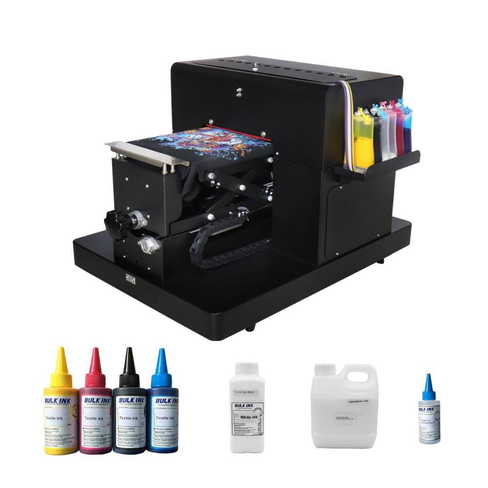 A4 Size Flatbed Printer With Textile Ink Set For Cotton T Shirt