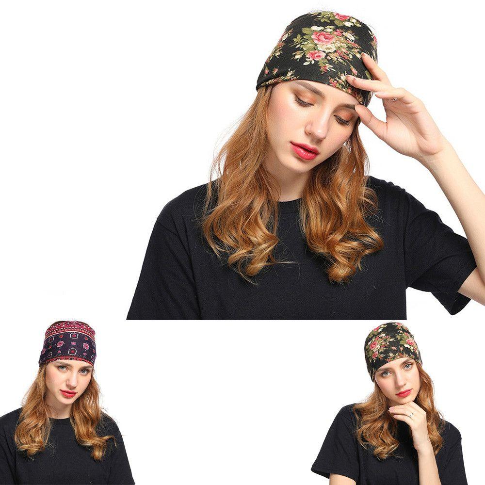 ad47d5b20 Ladies Printed Headband Wide Hair Band Elastic Native Headwear Hair  Accessories Sport Vintage Cross Knot Women Girls