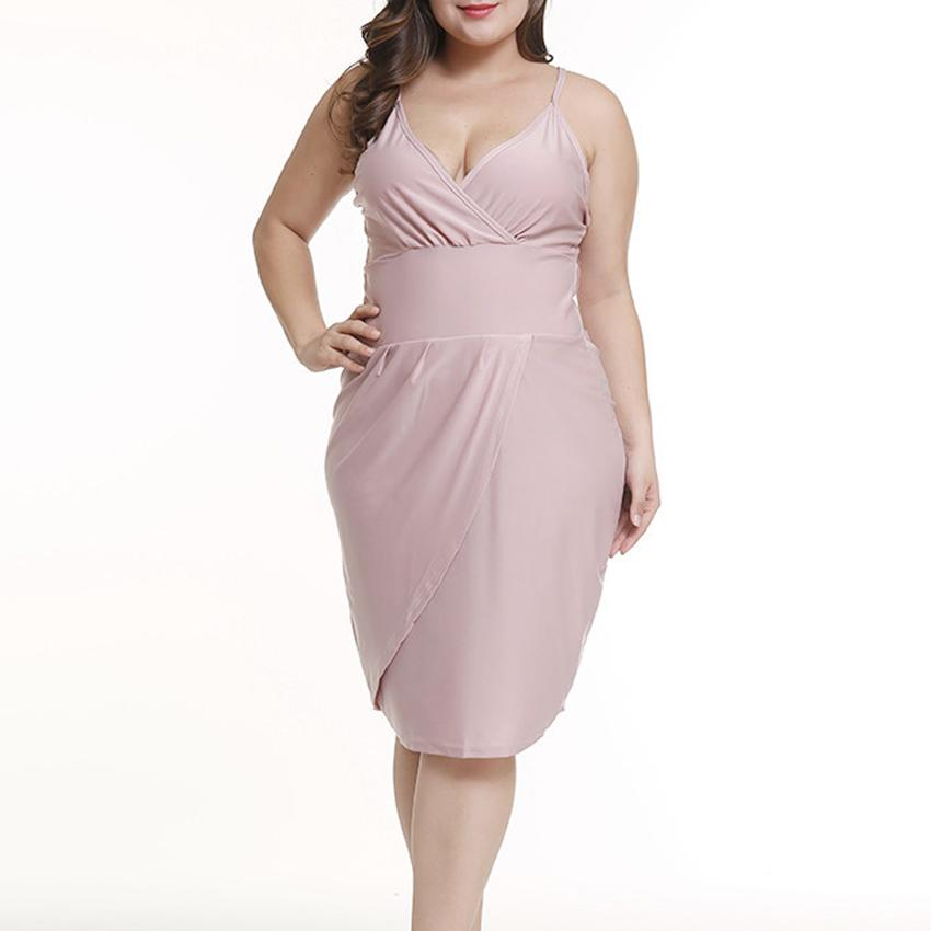 2ca7e37ea28c Women Plus Size Dress Camisole Solid Color Backless Across Sexy ...