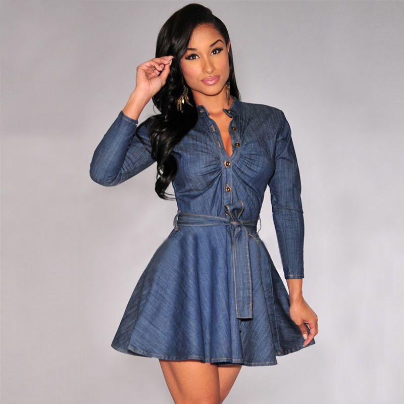 f75af2bba4 Compre 2019 Nueva Moda Casual Mujer Damas Vestido De Manga Larga O Cuello  Delgado Fajas De Botones Una Línea De Rodilla Longitud Vestido Azul A   30.32 Del ...