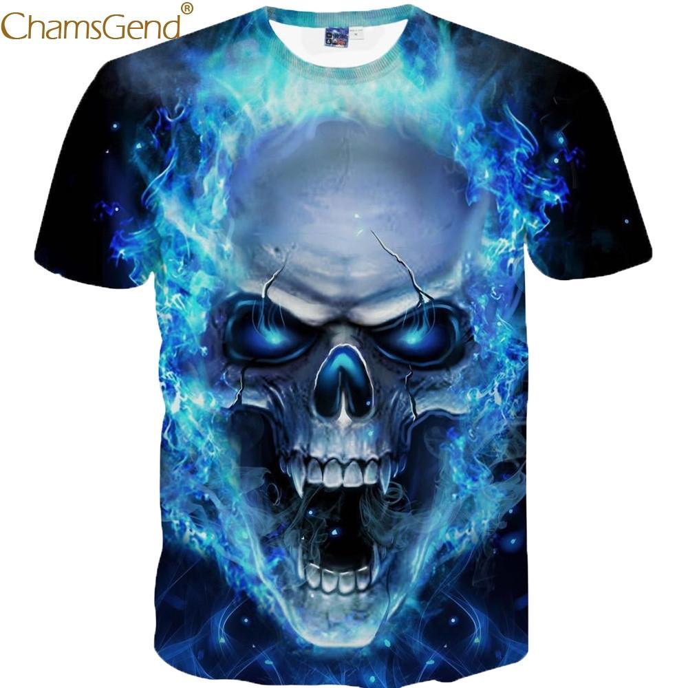47eb7d61493 Newest Mens Skull 3D Printing Men T-shirt Cotton Cool Funny Men T ...