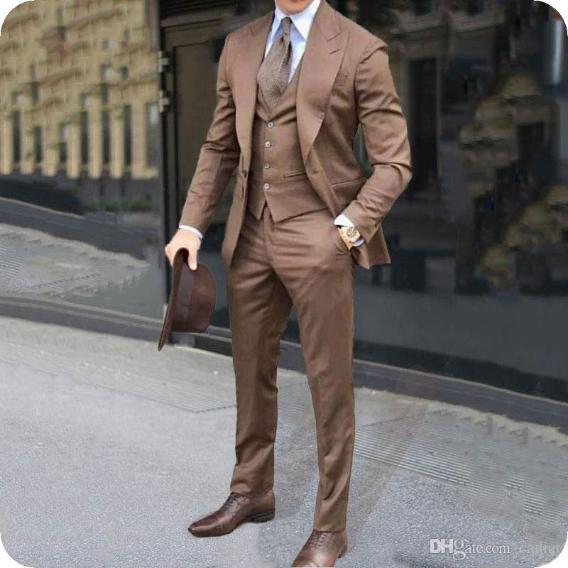 Peaked Lapel Formal Business Brown Suits Men Tuxedos Groom Wear Office Man Blazer 3Piece Coat Pant Vest Latest Designs Costume Homme