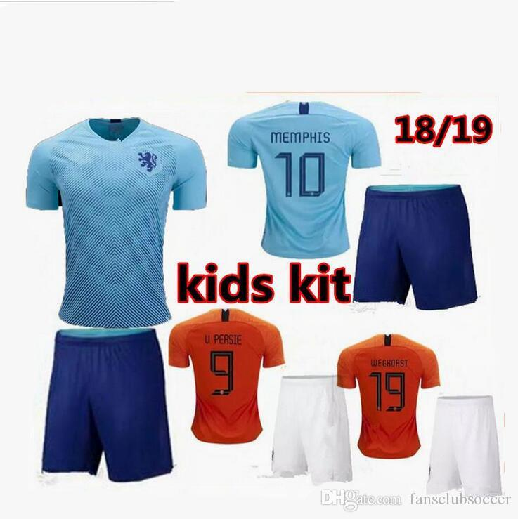 1f37347732f1d Compre 20182019 Camisas De Futebol Holandês Holland MEMPHIS DE JONG 7  WIJNALDUM 8 AWAY KIDS AZUL VIRGIL 2019 CAMISOLAS DE FUTEBOL JÉRSEI De  Fansclubsoccer