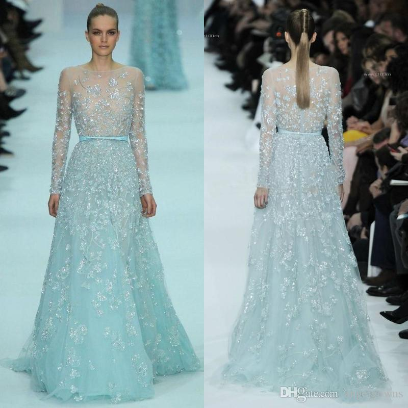 3d005bc7a2a3 Luxurious Elie Saab Crystal Evening Dresses 2019 Sexy See Through Long  Sleeves Sequins Beaded Sparkly Bling Prom Party Gowns Floor Length Formal  Dress For ...