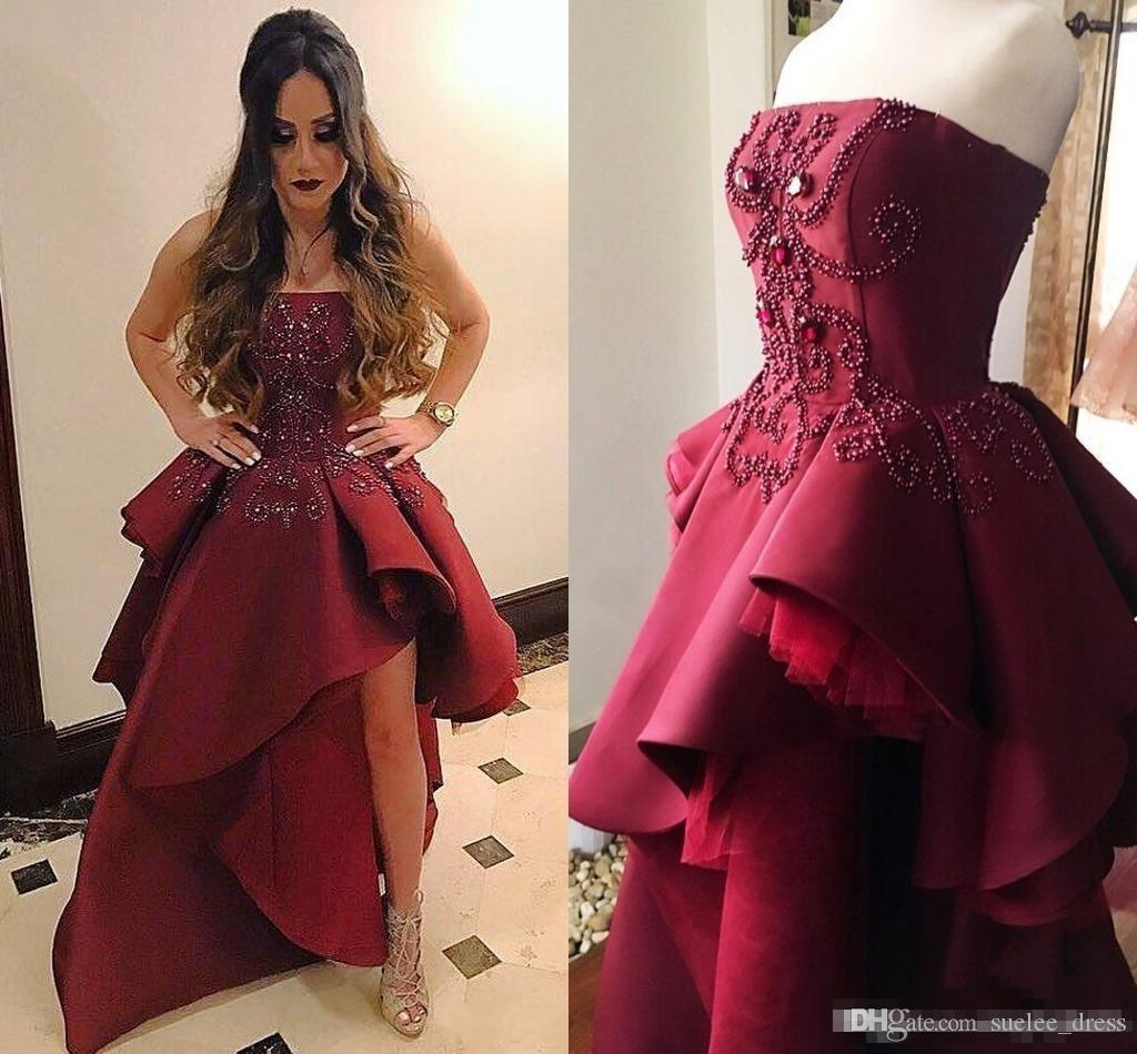 e598a699cab Luxury Beaded Crystal Burgundy Prom Dresses High Low Strapless Satin Tulle  Tiered Skirt Evening Party Formal Gown Discounted Prom Dresses Exotic Prom  ...
