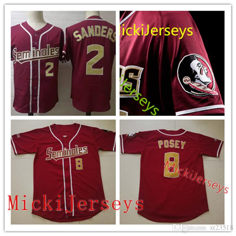 uk availability 6a2df acb2b Mens Florida State Seminoles Deion Sanders baseball Jersey NCAA college #8  Buster Posey #2 Deion Sanders Florida State Seminoles Jersey S-3X