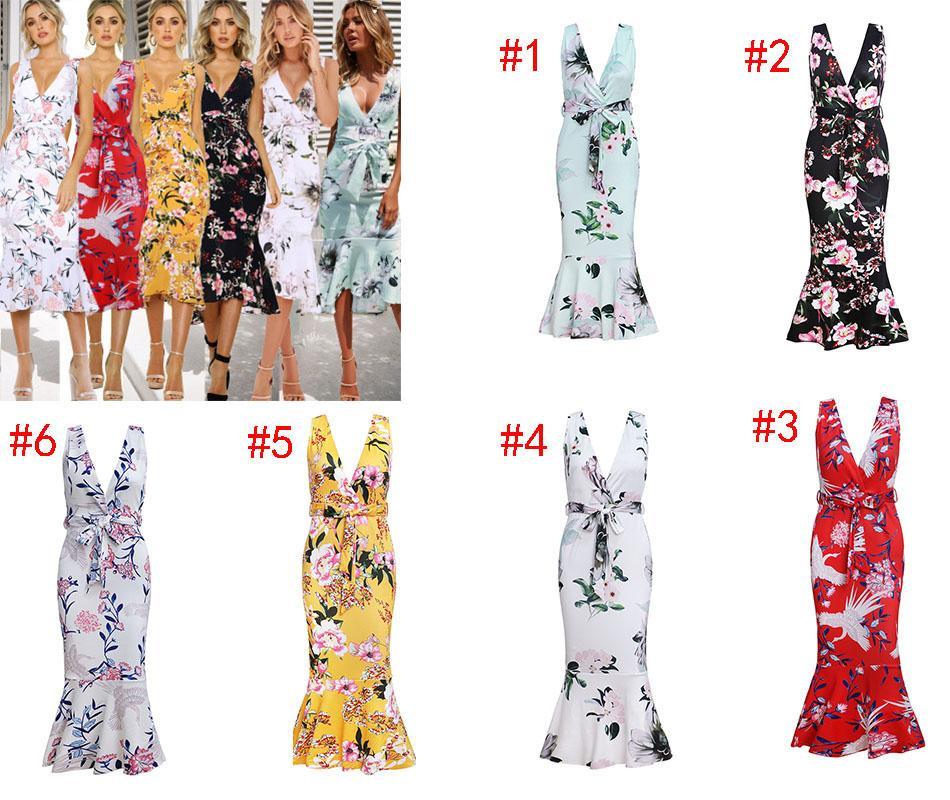 61cccf08c4cd3 2019 V Neck Sleeveless Print Ruffled OL Dress Bohemian Style Long Maternity  Dress Beach Maxi Dress A19256 From Lisamami, $16.79   DHgate.Com
