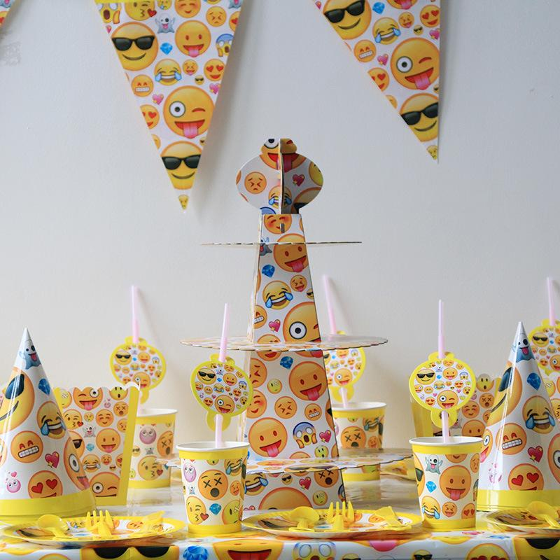 149pcs Lot Emoji Smile Cry Package Kids Birthday Decoration Set Theme Party Supplies Baby Pack