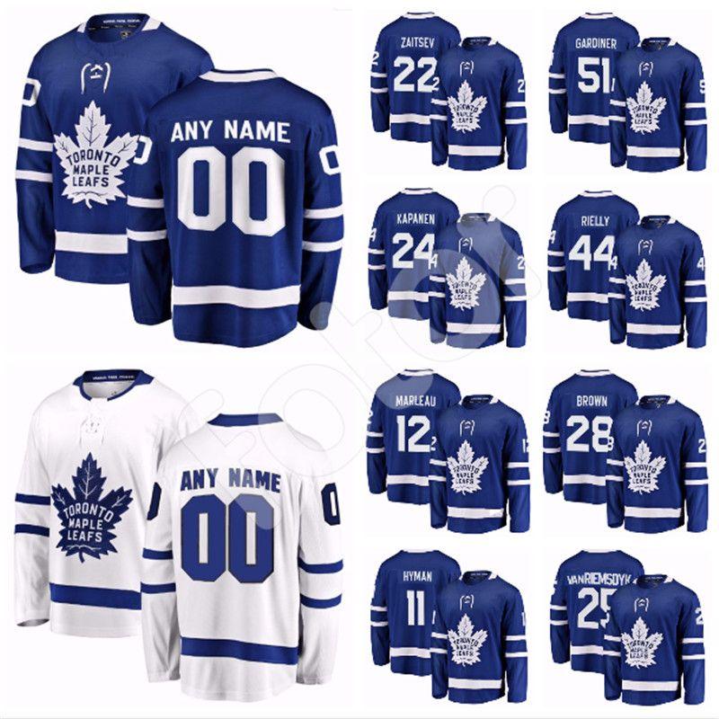 uk availability 656c0 892c9 Custom Toronto Maple Leafs Jersey Jake Gardiner Patrick Marleau Zach Hyman  Connor Brown Ron Hainsey Nikita Zaitsev Travis Dermott Kapanen