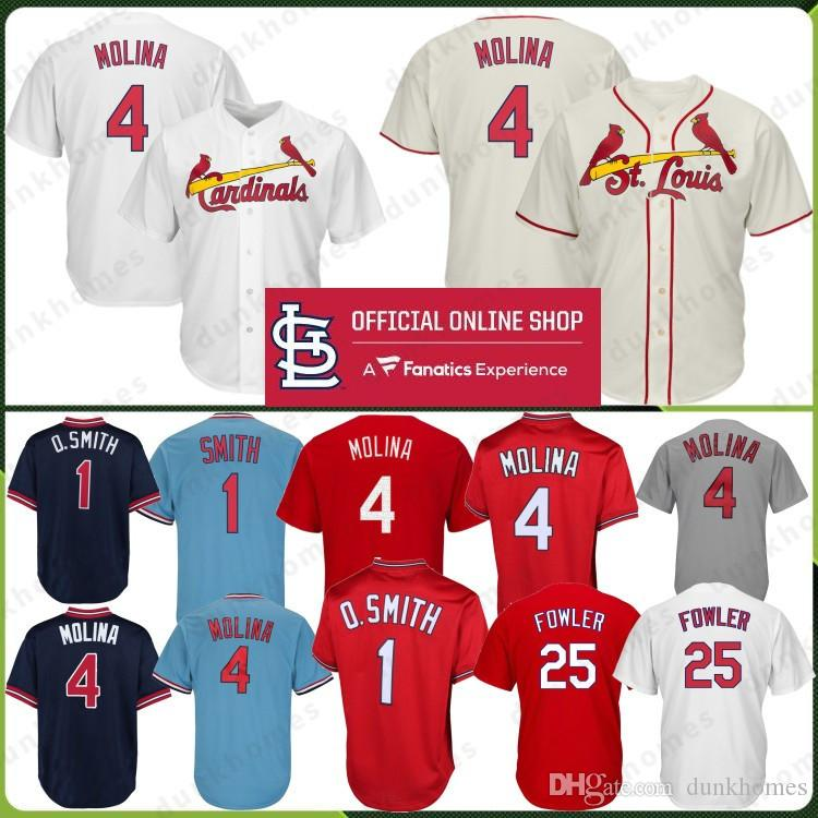 best loved 34cfc 87401 4 Yadier Molina St. Louis Cardinals Baseball Jersey 1 Ozzie Smith 25 Dexter  Fowler 100% Stitched