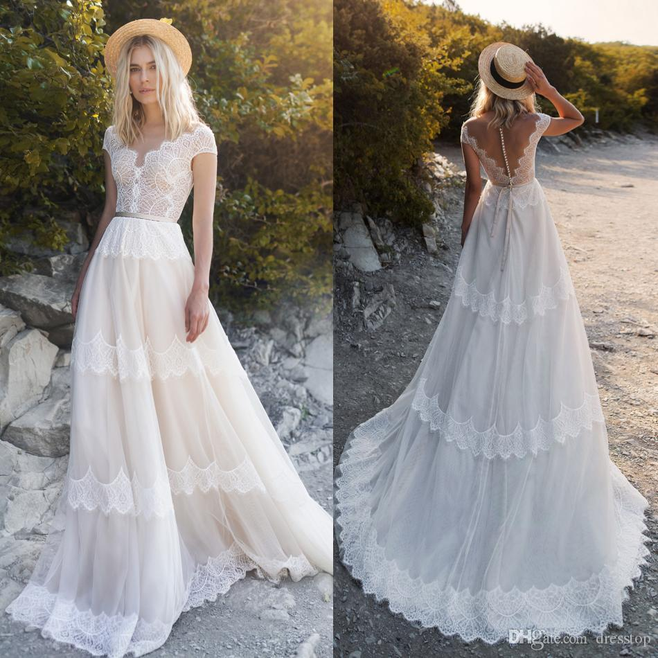 629bd3b7f27 Discount Summer Lace Beach Wedding Dresses Short Sleeves Buttons Back Sweep  Train Boho Bridal Gowns Custom Made Robe De Mariée Wedding Dresses Sale  Online ...