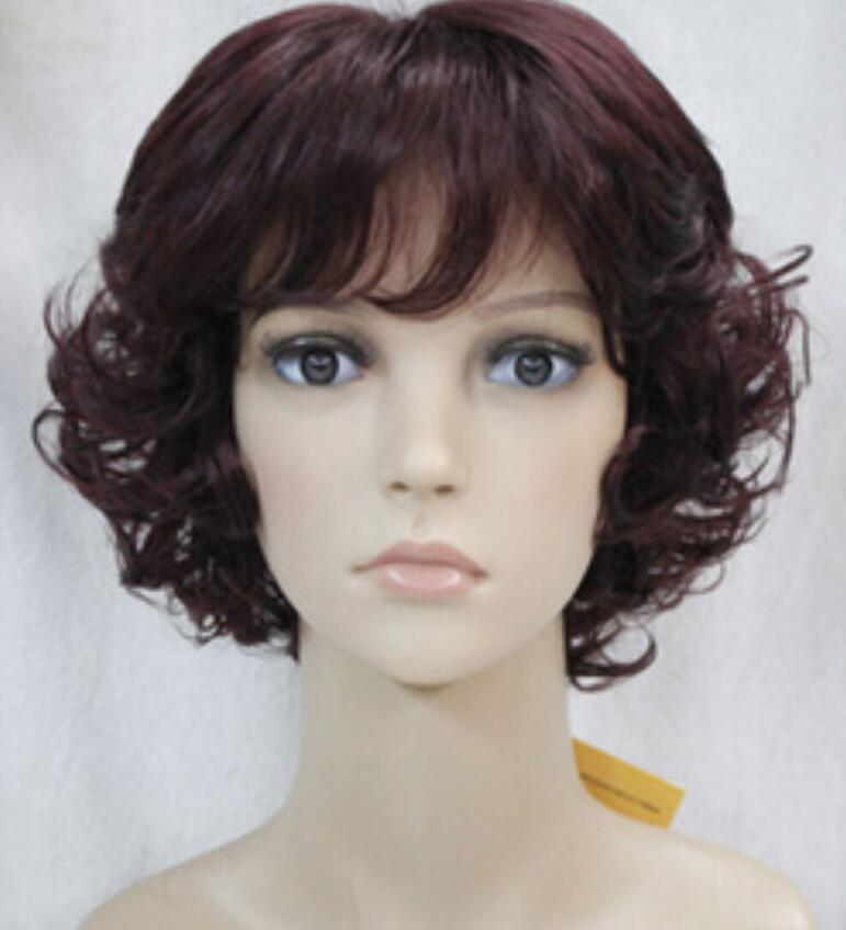 WIG Free Shipping >Dark Burgundy Curly Women ladies Daily Fluffy Hivision Synthetic Wig
