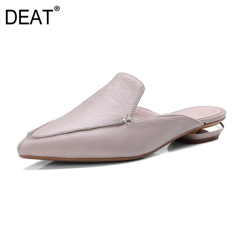 [DEAT] 2019 New Spring Summer Sharp Toe Pu Leather Comfortable Simple Casual Flat Slippers Women Shoes Fashion Tide 10SJ308