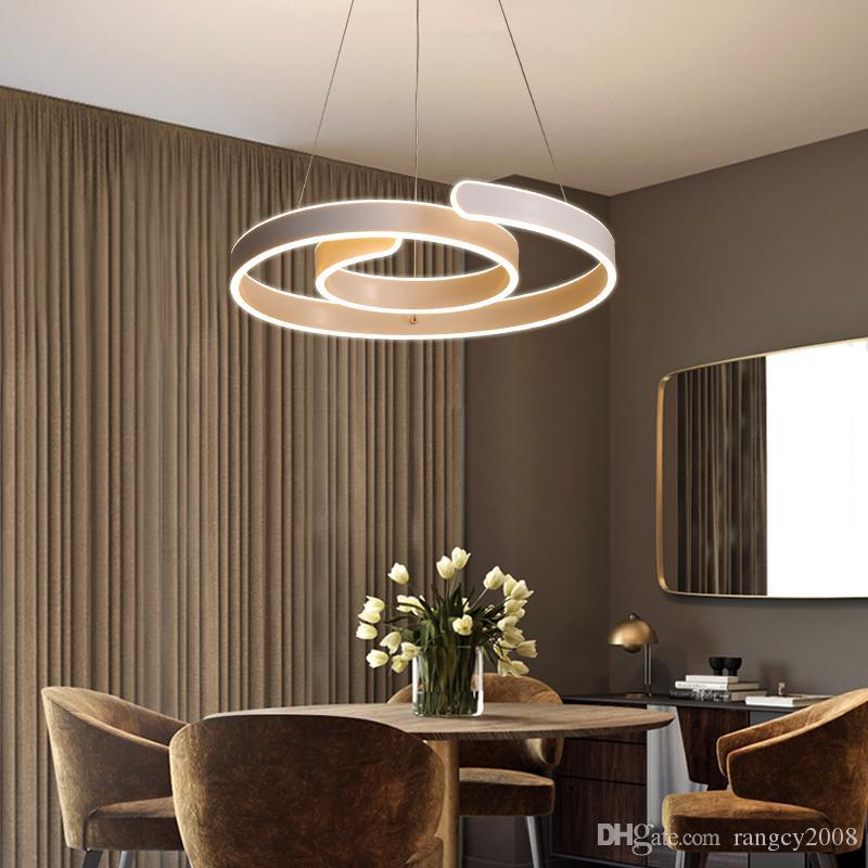 Moderno lampadario a led per cucina Sala da pranzo Soggiorno Apparecchio di  illuminazione sospesa Lampadari a sospensione bianchi 90-265V