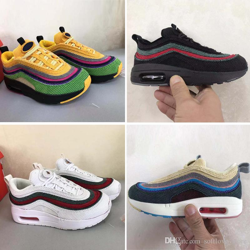 Nike air max 87 Baby Kids Марка Классическая Tn Runnning Shoes OG Юбилейные Мальчики Девочки