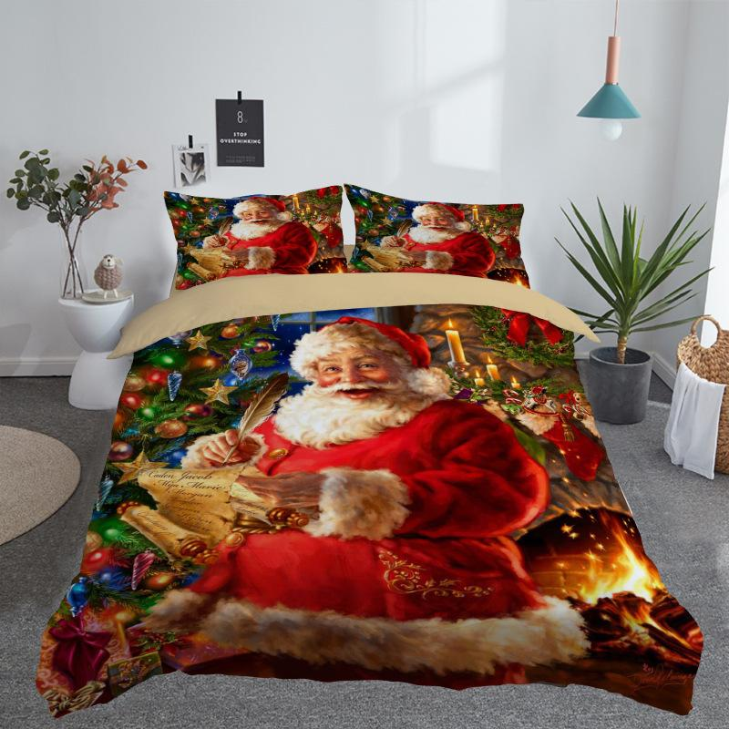 3D Printed Merry Christmas Bedding Set Queen Twin King Size Christmas Decoration for Home