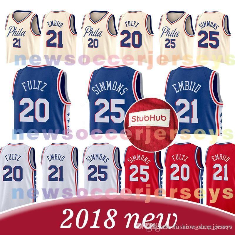 8e3782310 2018 Philadelphia 76ers 21 Joel Embiid Jersey 25 Ben Simmons 20 Markelle 17  J.J. Redick Basketball Jersey From Rfv tgb