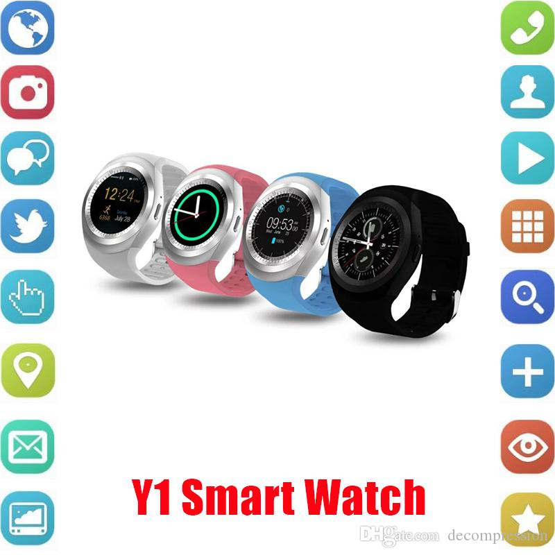 Y1 Smart Watch Round Sharp Support Nano SIM con Whatsapp Facebook Business Smartwatch Push Message para IOS Android Phone Envío gratis