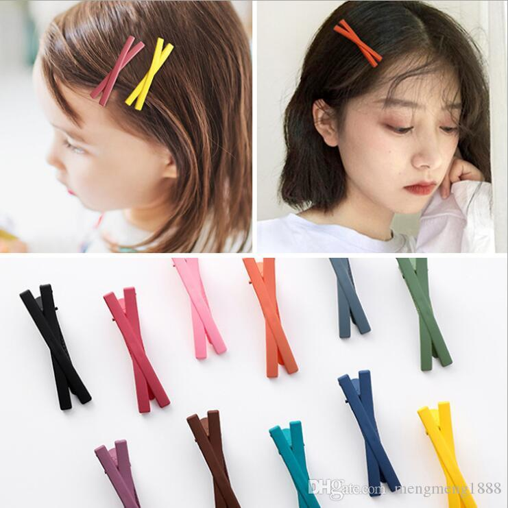 Simple Pretty Girl Children Solid Color Acrylic Resin Cross Hair Clips Hairpin Hairgrip Hair Pin Bobby Pin Barrette Headdress