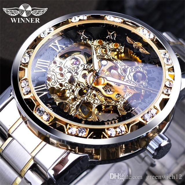 Winner Transparent Fashion Diamond Display Luminous Hands Gear Movement Retro Royal Design Men Mechanical Skeleton Wrist Watches For Man
