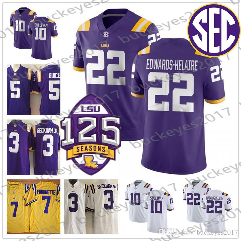 new product cbc89 91f91 LSU Tigers white purple yellow 125th Football Jersey #80 Jarvis Landry 33  Jamal Adams 1 Eric Reid 20 Billy Cannon 22 Clyde Edwards-Helaire