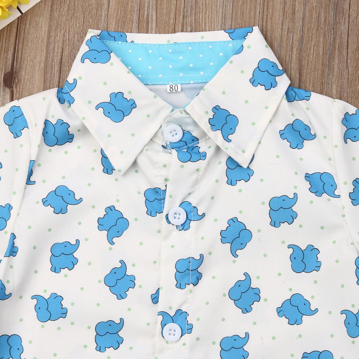 Crianças Baby Boy ternos formais Verão Define Elephant Imprimir T-shirt Sólidos Shorts Crianças Party Boy Roupa Outfits 1-5Y