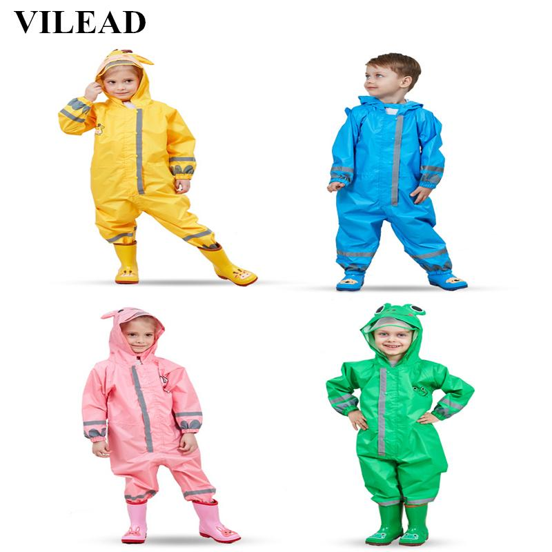 Cartoon Kids Rainwear Waterproof Hooded Rain Coat Jumpsuit Raincoat Cover