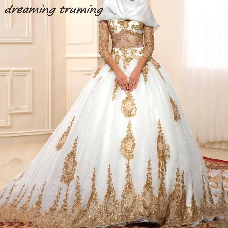newest collection 47d93 f7113 Abito da sposa musulmano bianco e oro con applicazioni musulmane Maniche  lunghe Donne islamiche turche Arabia Saudita Abiti da sposa vintage
