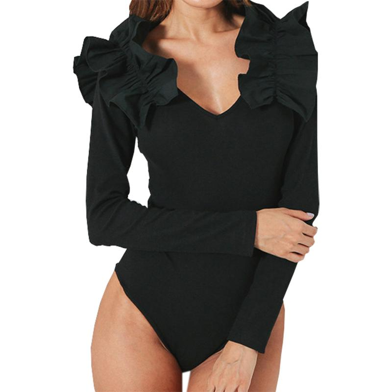 4202eed9cf475 2019 Ruffles Skinny Sexy Black Bodysuit Women Jumpsuit Long Sleeve V Neck Bodycon  Body Top Autumn Slim Overall Bodysuits Romper GV107 From Mobile02