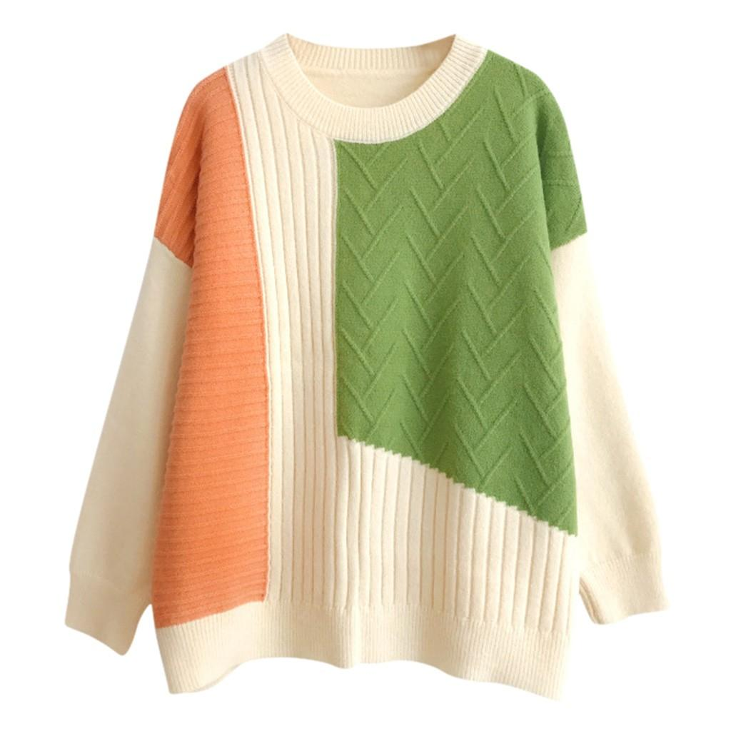 Knitted Sweater Pullovers Women Fashion O-Neck Colorblock Pacthwork Long Sleeve Sweaters Shirts Female Soft Bottom Jumper