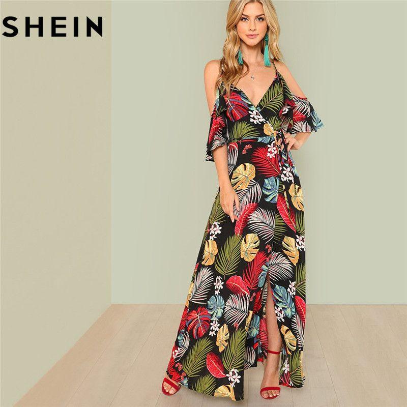 356746a0e9 2019 SHEIN Summer Boho Floral Print Sexy Deep V Neck Open Shoulder Maxi  Dress Women Beach Vacation High Waist Surplice Wrap Dresses Y19042401 From  Huang03, ...