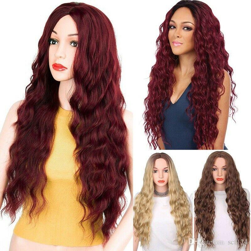 "Details about 27"" Synthetic Ombre Hair Sexy Wig Long Wavy Curly Full Wigs +Cap For Women Top"