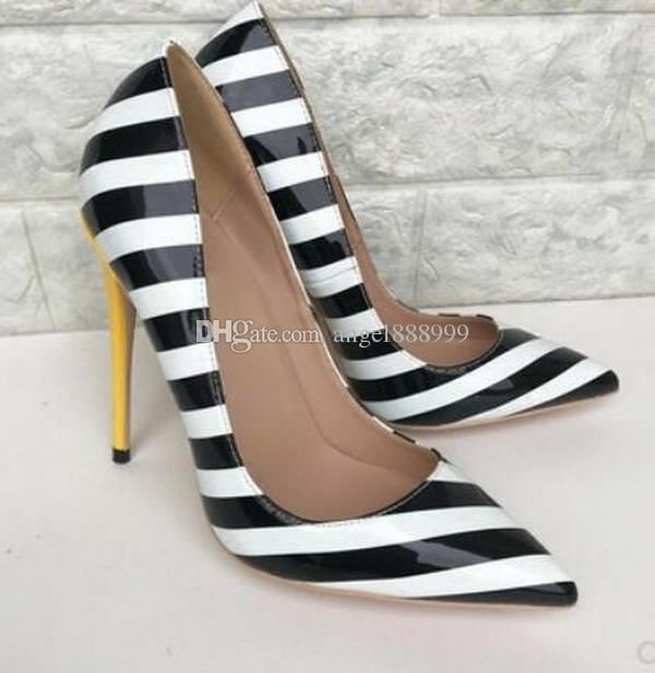 e254f3c475c4 2019 New Black And White Striped High Heeled Shoes Luxury Brand Women S Red  Bottom Thin Heeled Pointed Monochrome Dress Wedding Shoes Pumps Shoe Boots  Sexy ...