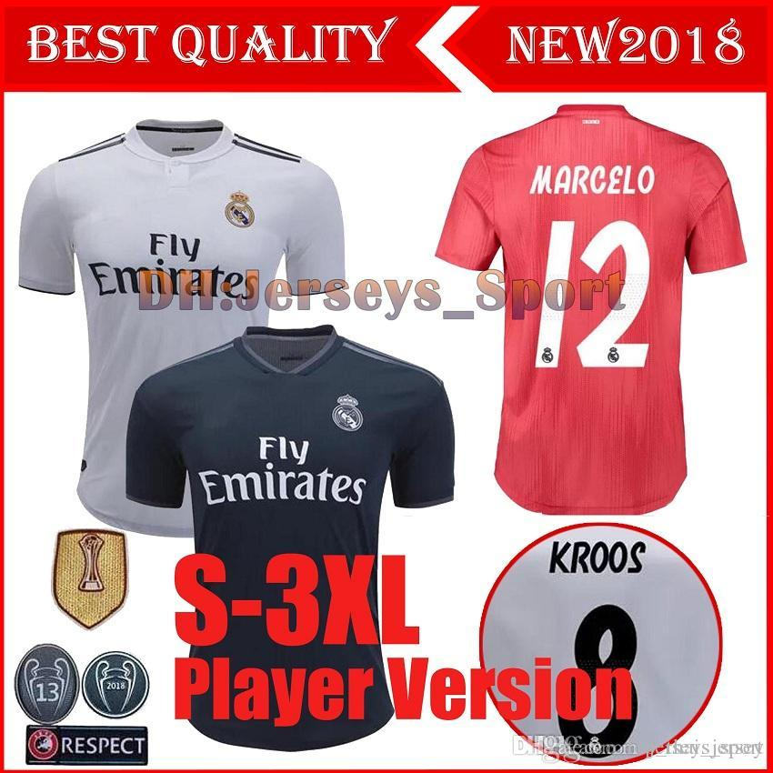 90ff010ea 2019 Real Madrid Player Version Champions League Soccer Jersey 2018 ...