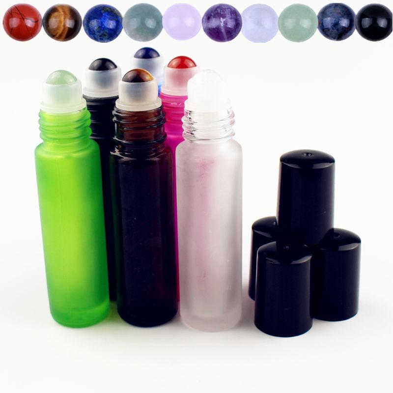 a156e0ccb1d0 1PC 10ml Frosted Glass Essential Oil Bottle with Natural Gemstone Roller  Ball Empty Refillable Perfume Bottles Liquid Roll On