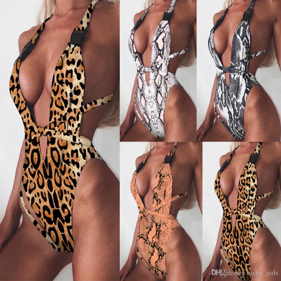 aaa835eaf6 2019 2019 Leopard Print One Piece Swimsuit Sexy Deep V Neck Bikini Bandage One  Piece Swimwear Backless Swim Bathing Suit Women Monokini Bodysuit From ...