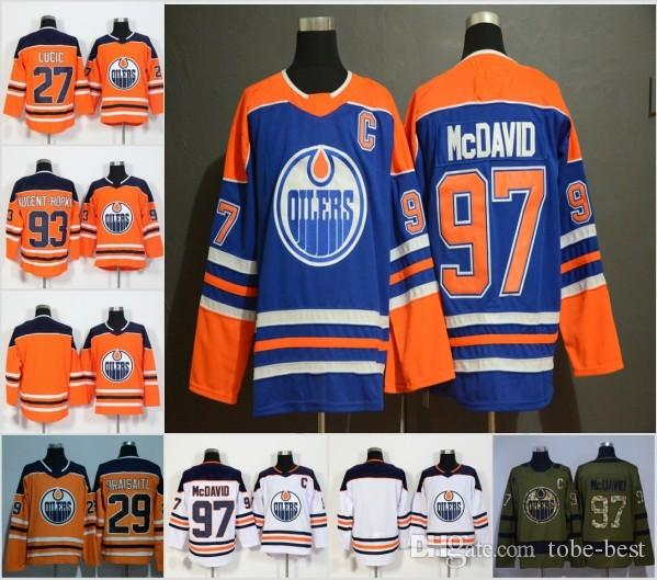 official photos ba036 06b19 2019 Cheap Edmonton Oilers Jerseys 97 Connor McDavid 99 Wayne Gretzky 27  Milan Lucic 29 Leon Draisaitl Orange White Stitched Hockey Jersey